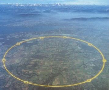 Partikel track milik CERN (garis kuning), salah satu alat eksperimen milik CERN untuk membuktikan eksistensi Higgs Boson atau Higgs Particle.
